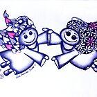 Angel Hugs - truly smitten (blue version) by Lisa Frances Judd~QuirkyHappyArt