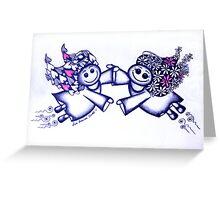 Angel Hugs - truly smitten (blue version) Greeting Card