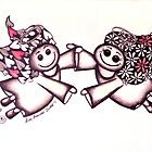 Angel Hugs - truly smitten! (Red version) by Lisa Frances Judd~QuirkyHappyArt
