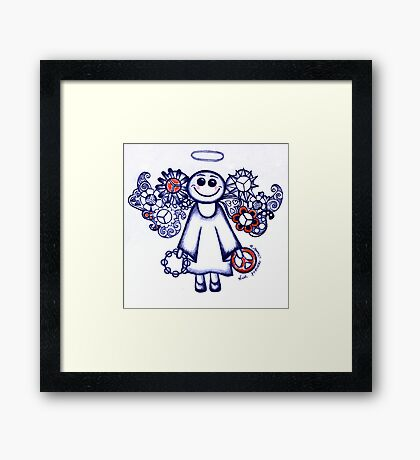 Peace Angel Blue Framed Print