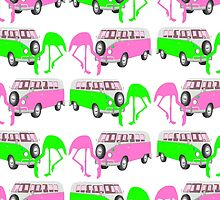 Flamingo Trailer Park Tropical Christmas by TammyWinandArt