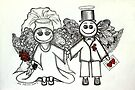 Wedding Angels Original by Lisa Frances Judd~QuirkyHappyArt