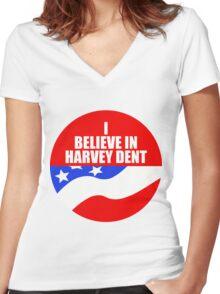 I Believe In Harvey Dent - Batman Dark Knight Political Logo Women's Fitted V-Neck T-Shirt