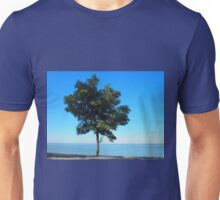 Lonely acacia tree with green leaves on the coast of the sea Unisex T-Shirt
