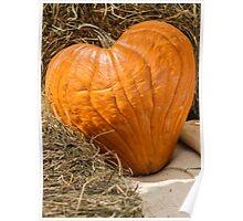 heart pumpkin in autumn Poster