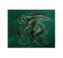 Bunny On A Bicycle Art Print