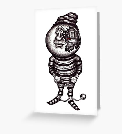 Prisoner of the material. Surreal black and white pen ink drawing Greeting Card