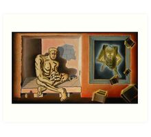 "Surreal Portents of Genius - oil on canvas - 45"" x 26"" Art Print"