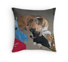 """I love ALL my toys!!"" Throw Pillow"