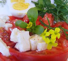 Summer tomato and feta salad by Carol Dumousseau