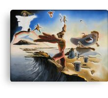 "A Last Minute Surrealistic Apocalyptic Education - oil on canvas - 24"" x 18"" Canvas Print"