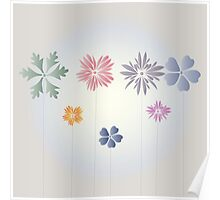 Flowers on light-gray background Poster