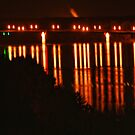 Night Light Reflections in the Missouri River by barnsis