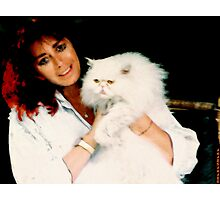 GUENDA AND HER WHITE CAT... Photographic Print