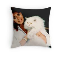 GUENDA AND HER WHITE CAT... Throw Pillow