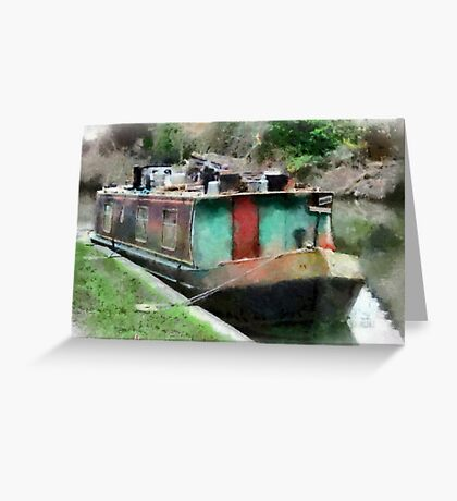 Narrow Boat, Kennet & Avon Canal, Wiltshire, UK Greeting Card