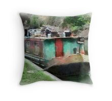 Narrow Boat, Kennet & Avon Canal, Wiltshire, UK Throw Pillow