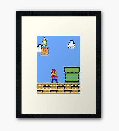 Mario Land Nes LegoBrick Style Framed Print