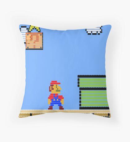 Mario Land Nes LegoBrick Style Throw Pillow