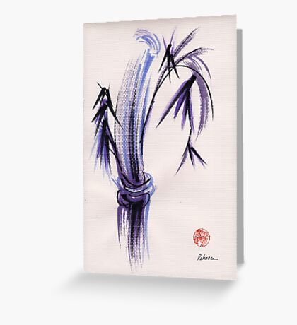 """rhythm and grace"" - Zen watercolor sumi e bamboo painting Greeting Card"