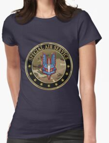 Special Air Service - S A S Insignia Special Edition over Blue Velvet Womens Fitted T-Shirt