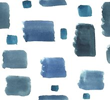 Water color  pattern with blue  square shapes. by TrishaMcmillan
