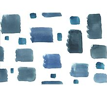 Water color  pattern with blue  square shapes. Photographic Print