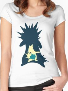 PKMN Silhouette - Cyndaquil Family Women's Fitted Scoop T-Shirt
