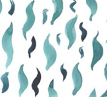 Water color  pattern with blue  shapes. by TrishaMcmillan