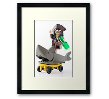 Why jump the shark when you can ride one? Framed Print