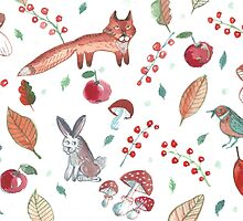 Water color pattern set of forest with fox, hare, hedgehog, bird,  autumn leaves, berries, mushrooms. by TrishaMcmillan