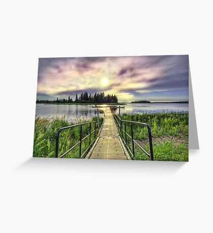 Boardwalk into Sunset HDR Greeting Card