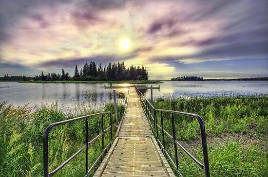 Boardwalk into Sunset HDR by Myron Watamaniuk