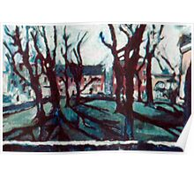 Bare Trees on the Lawn Poster