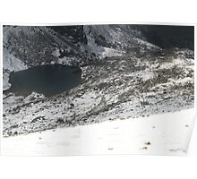 helecoptor over Snowdon with black lake, Wales Poster
