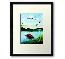 Shore for the night, watercolor Framed Print