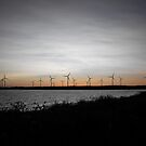 Wind Turbine Sunset by tintinplumber