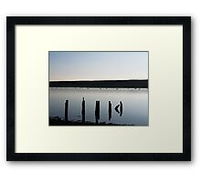 swans in silhouette on the fleet in weymouth,dorset Framed Print
