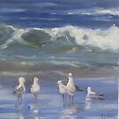 Seagulls at the beach  by Tash  Luedi Art