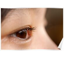 brown eyes with drops on lashes Poster