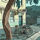 bicycles at the Hotel by Richard Morden