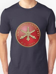 Air Defense Artillery - ADA Branch Insignia over Blue Velvet T-Shirt