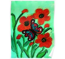Red Poppies and #2 butterfly, watercolor Poster