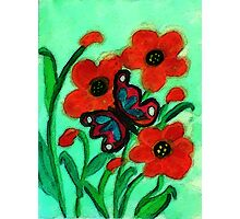Red Poppies and #2 butterfly, watercolor Photographic Print