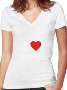 I Love Myself Women's Fitted V-Neck T-Shirt
