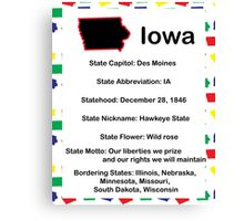 Iowa Information Educational Canvas Print