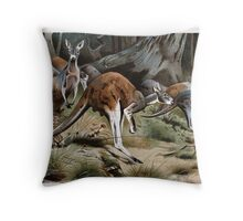 Friedrich Wilhelm Kuhnert A group of Red kangaroos on the move Colour reproduction of Wellcome Throw Pillow