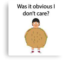 Gene Belcher Don't Care Bobs Burgers Quote Canvas Print