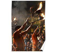 Evening prayers to river Ganga at Varanasi Poster