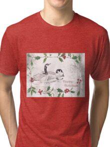 "Nostalgic Geese ""Happy Holidays"" ~ Greeting Card Tri-blend T-Shirt"